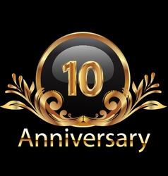 10 years anniversary birthday in gold vector
