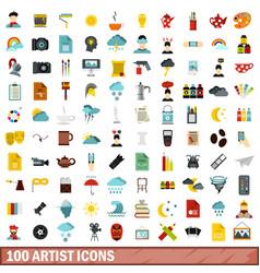 100 artist icons set flat style vector