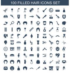 100 hair icons vector