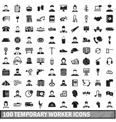 100 temporary worker icons set simple style vector