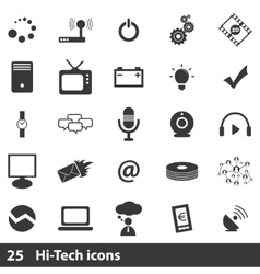 25 hi-tech icons set vector