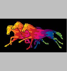 3 horses running cartoon graphic vector image