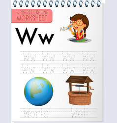 alphabet tracing worksheet with letter w and w vector image