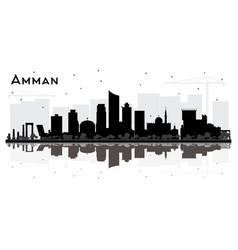 Amman jordan city skyline silhouette with black vector