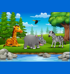 Animals are enjoying nature by the river vector