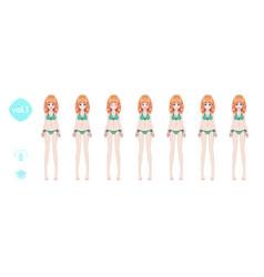 Anime manga girl in a summer bikini swimsuit vector