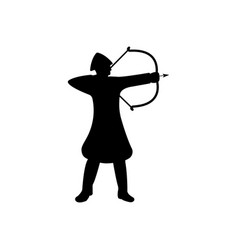archer warrior silhouette on white background vector image