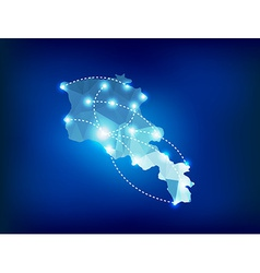 Armenia country map polygonal with spot lights vector
