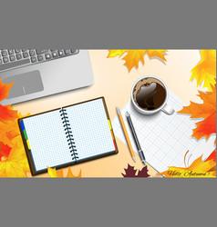 Autumn theme on the table vector