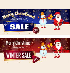 banner merry christmas sale up to 50 off santa vector image