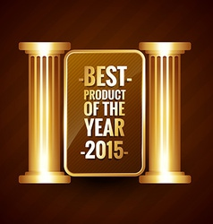 Best product of the year in shiny golden style vector