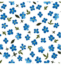 blue flowers in blossom seamless pattern vector image