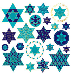 Blue gold jewish star clipart vector