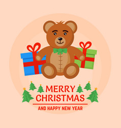 brown bear toy and christmas gift boxes vector image