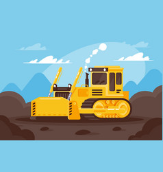 Bulldozer at a construction site surrounded by vector