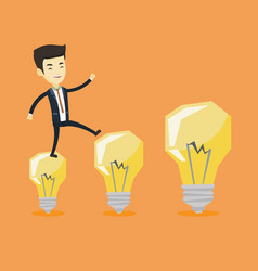 Business man jumping on light bulbs vector