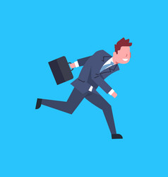 Business man running hold suitcase male office vector