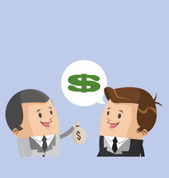 Businessmen talking with money vector