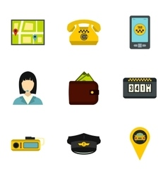 Call taxi icons set flat style vector image