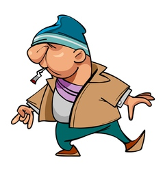 Cartoon character guy thug with a cigarette vector