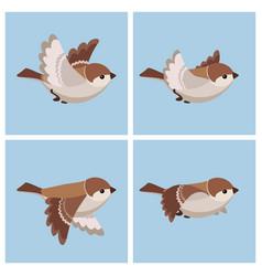 Cartoon flying house sparrow female animation vector