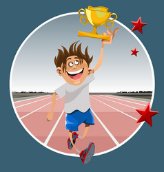 cartoon male athlete running with prize winning vector image