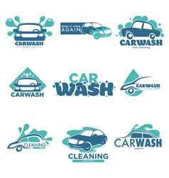 Carwash isolated icons car cleaning service vector