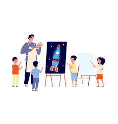 children art studio kids drawing painter vector image