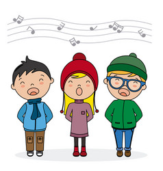 Children singing with winter clothes vector