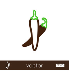 Chili pepper outline icon vegetable vector