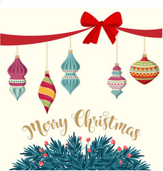 Christmas card with baubles and fir branches vector