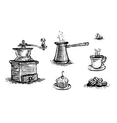 coffee set vintage images vector image
