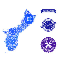 Collage map of guam island with gears and rubber vector