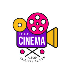 colorful cinema or movie company logo design vector image