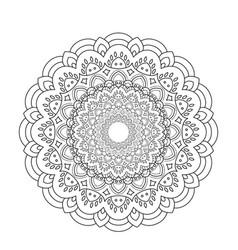 Coloring book mandala circle lace ornament round vector