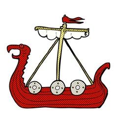 comic cartoon viking ship vector image