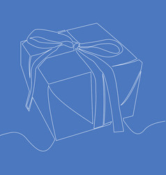 Continuous one line gift box icon concept vector