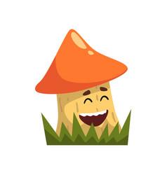 cute funny boletus mushroom character with funny vector image