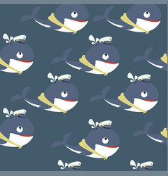 cute whale cartoon pattern vector image