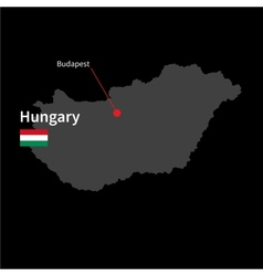 Detailed map hungary and capital city budapest vector
