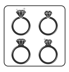 Diamond engagement ring icons set 2 vector image