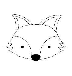 Dotted shape cute fox head wild animal vector