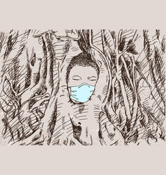 Drawing buddha head in medical face mask vector