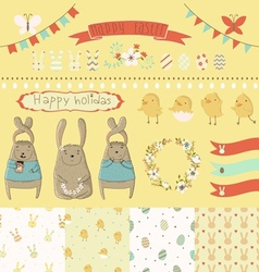 Easter graphic set vector image