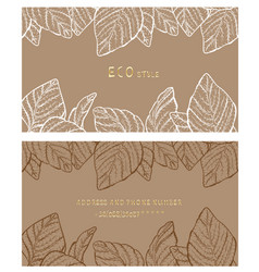 Eco style business card back and front vector