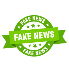 Fake news round ribbon isolated label fake news vector