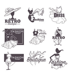 Fashion dress boutique sketch retro icons vector