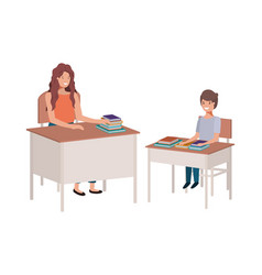 female teacher in the classroom with student vector image