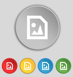 File JPG icon sign Symbol on five flat buttons vector