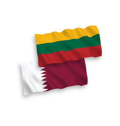 Flags lithuania and qatar on a white background vector